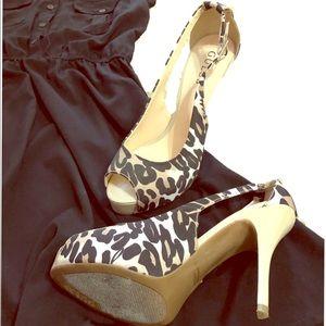 GUESS leopard peep toe heels